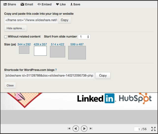 Options to embed Slideshare presentation