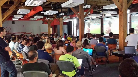 hubspot employees watching world cup