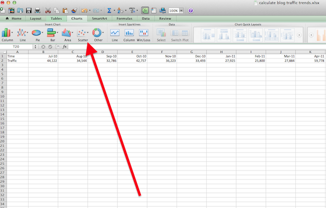 Button above a blank Excel spreadsheet where you can insert a Scatter Plot chart
