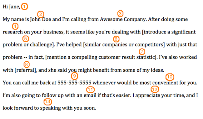 The anatomy of a perfect first contact sales voicemail template voicemailtemplate cheaphphosting Gallery