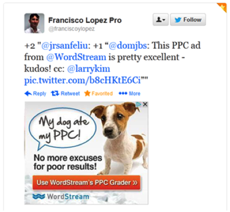 "remarketing ad from wordstream with a puppy on it that says ""my dog ate my ppc! no more excuses for poor results"""