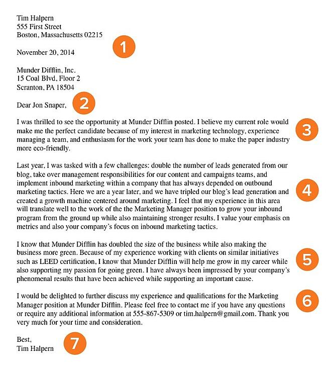cover letter example - Marketing Manager Cover Letter Examples