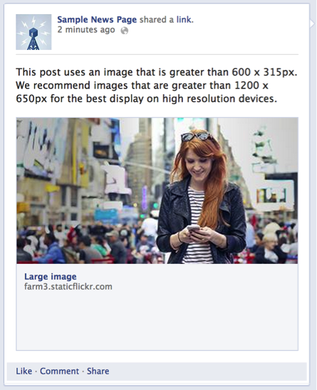 Image size for facebook job post