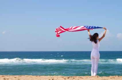 woman-flag-beach