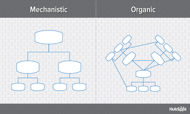 Mechanistic vs organic organizational structure, compared in two diagrams side by side