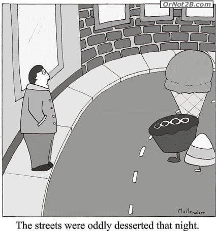 desserted-streets grammar joke