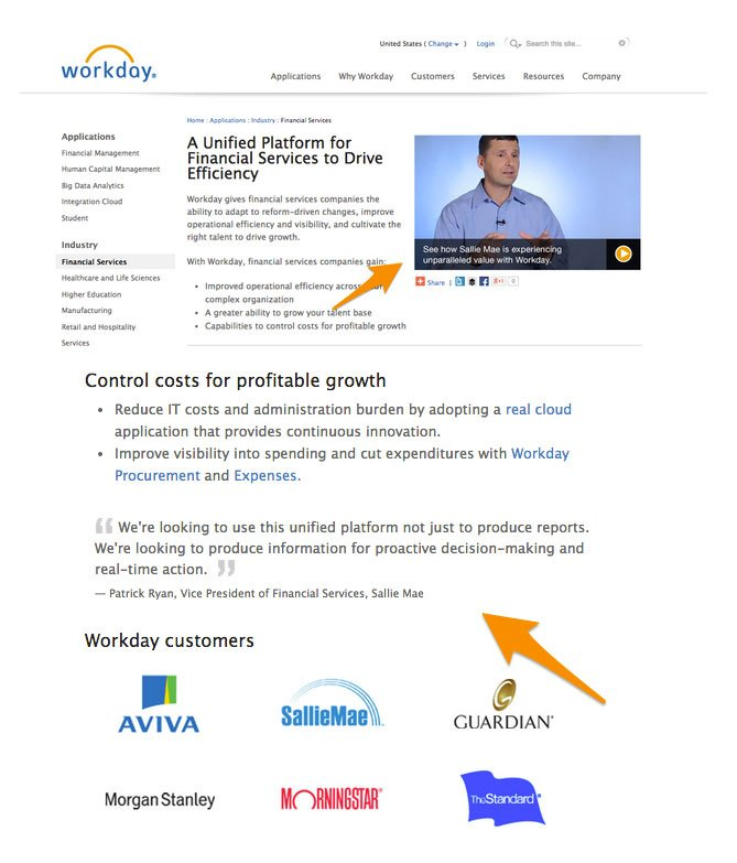 workday's use of testimonial in the top left corner of a product page