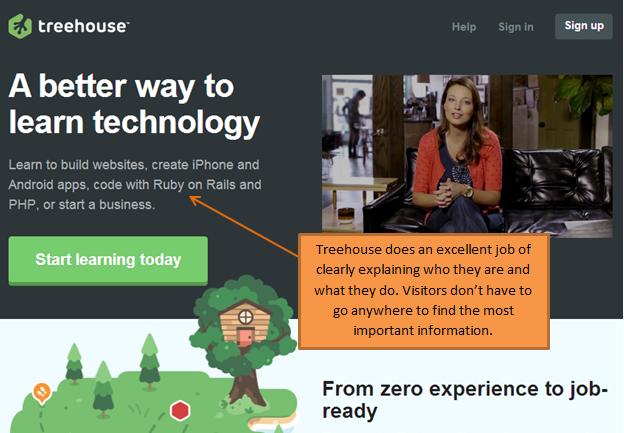 treehouse homepage