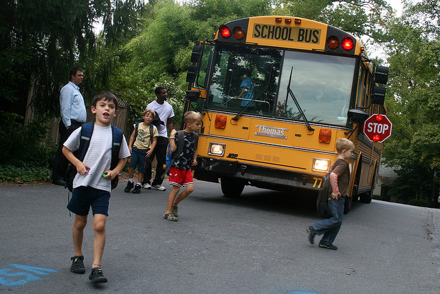 Kids Getting Off the School Bus