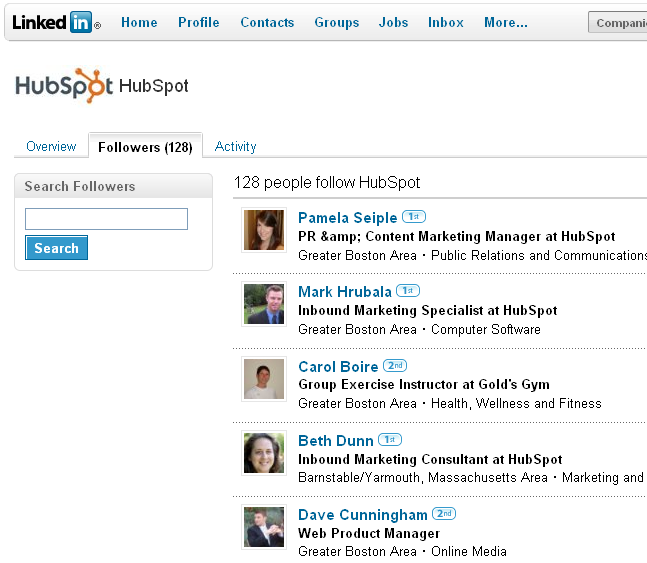hubspot linkedin followers