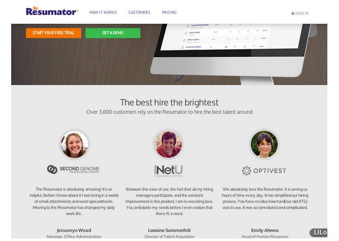 customer testimonials on theresumator homepage