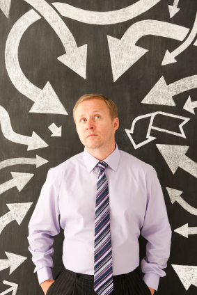 arrows pointing to man