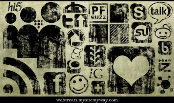 black ink grunge stamp icon set