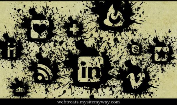 black paint splatter icon set