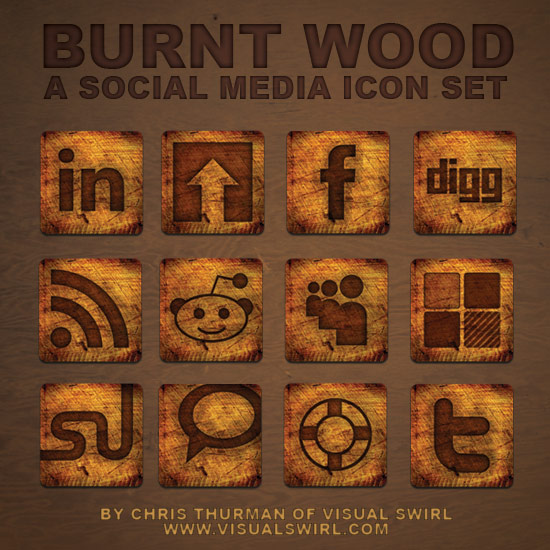 burnt wood icon set