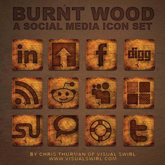 burnt wood icon set