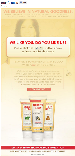 Burts Bees Facebook Fan Page