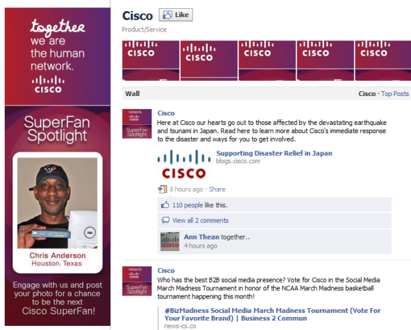 cisco facebook fan page