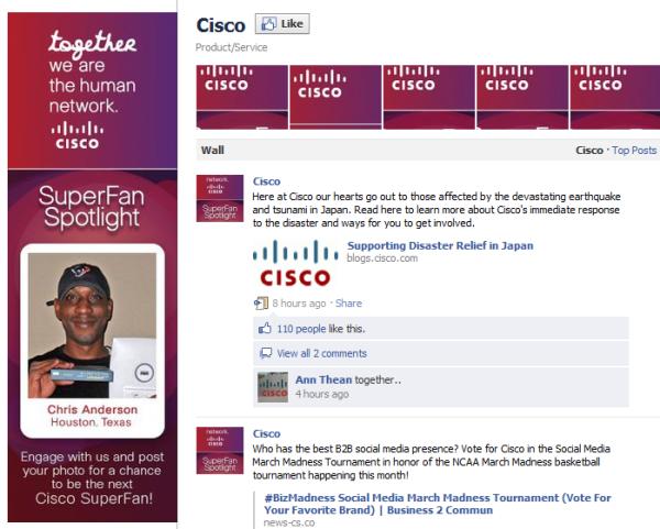 cisco facebook fan page