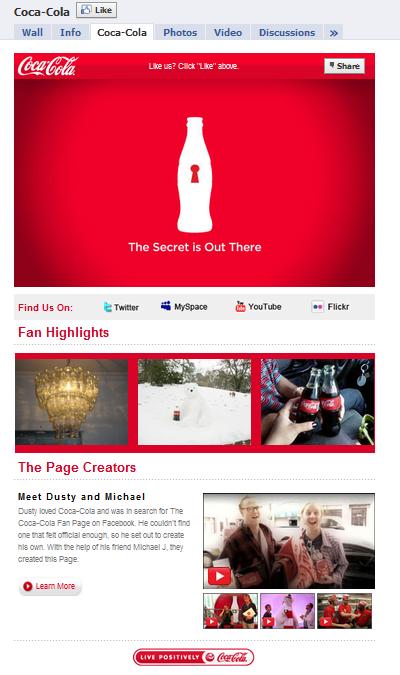 Coca Cola Facebook Fan Page