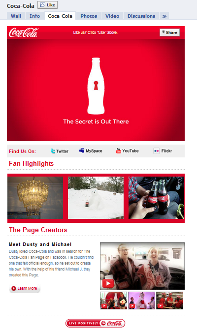 Coca Cola Facebook Fan Page