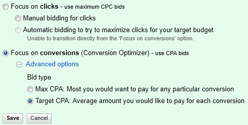 CPA Bidding Options in Google Adwords