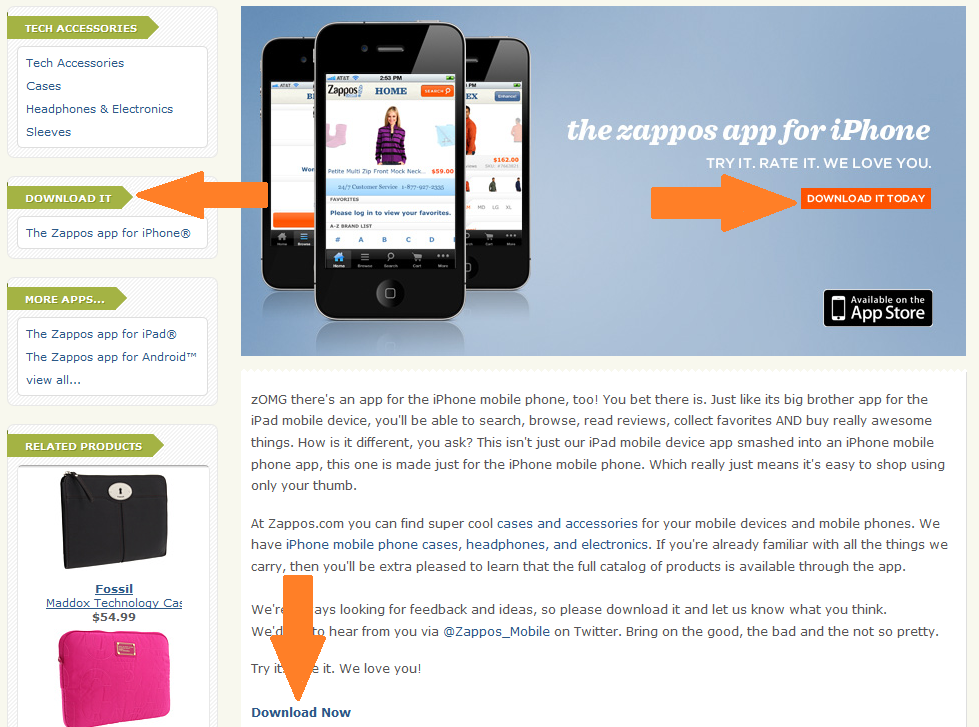 downloads on zappos mobile app