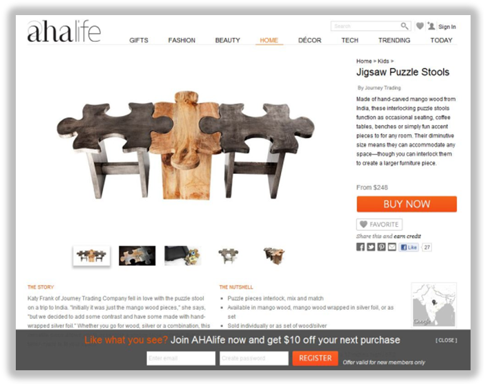 ecommerce product page layout