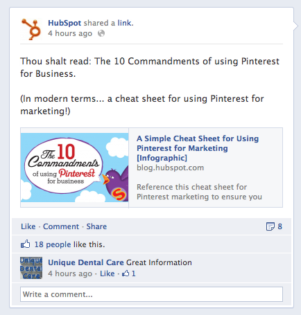 HubSpot Facebook Link Screenshot