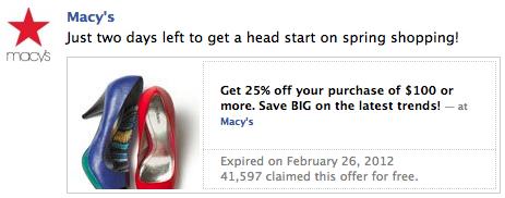 facebook macys offer