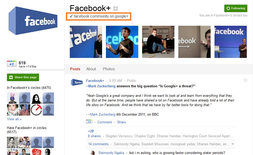 Facebook  on Google