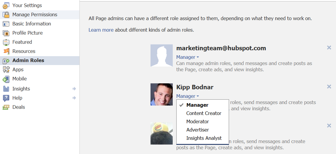 facebook admin roles manager insight analyst