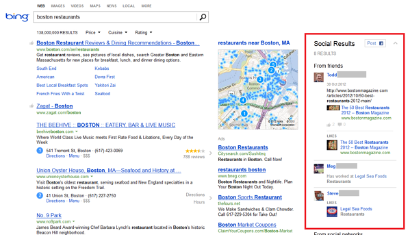 facebook bing search results