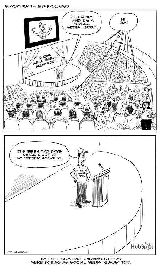 Social Media Gurus Anonymous Cartoon