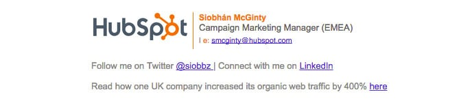 signature of hubspot employee that features a case study link at the bottom of the email signature