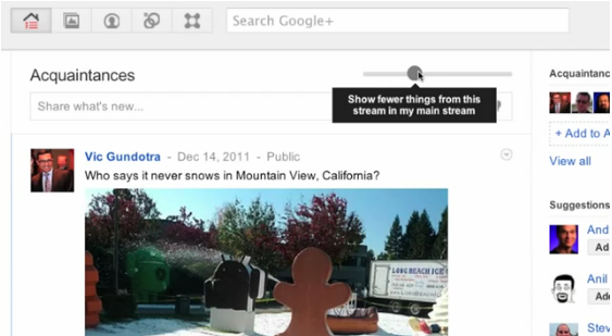 Google plus stream update
