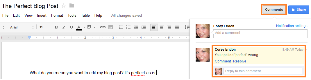 google doc changes