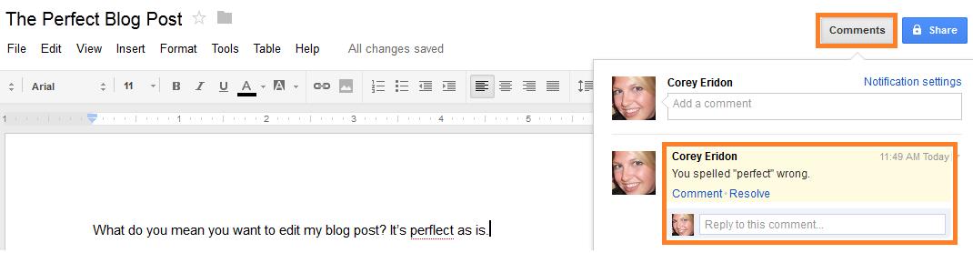 google doc changes