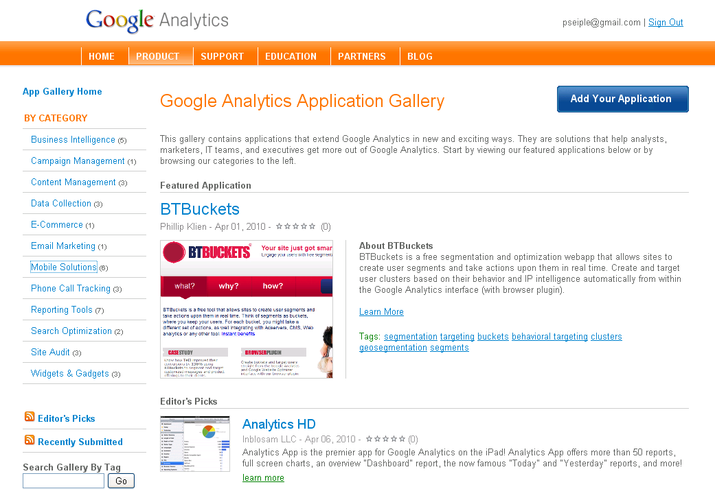 Google Analytics App Gallery