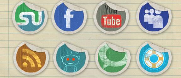 grundge peeling stickers icon set