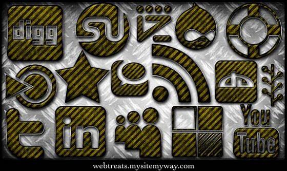 grunge warning stripes icon set