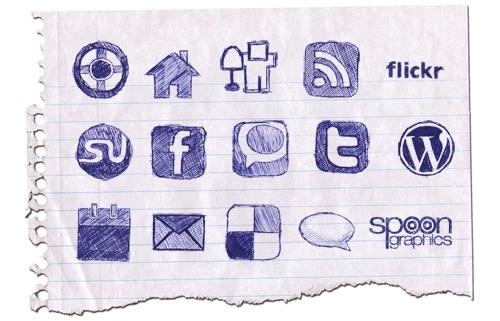 hand drawn doodle icon set