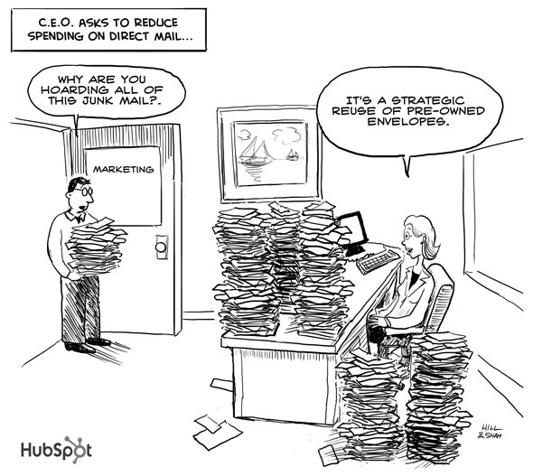 cartoon - How not to reduce direct mail spend