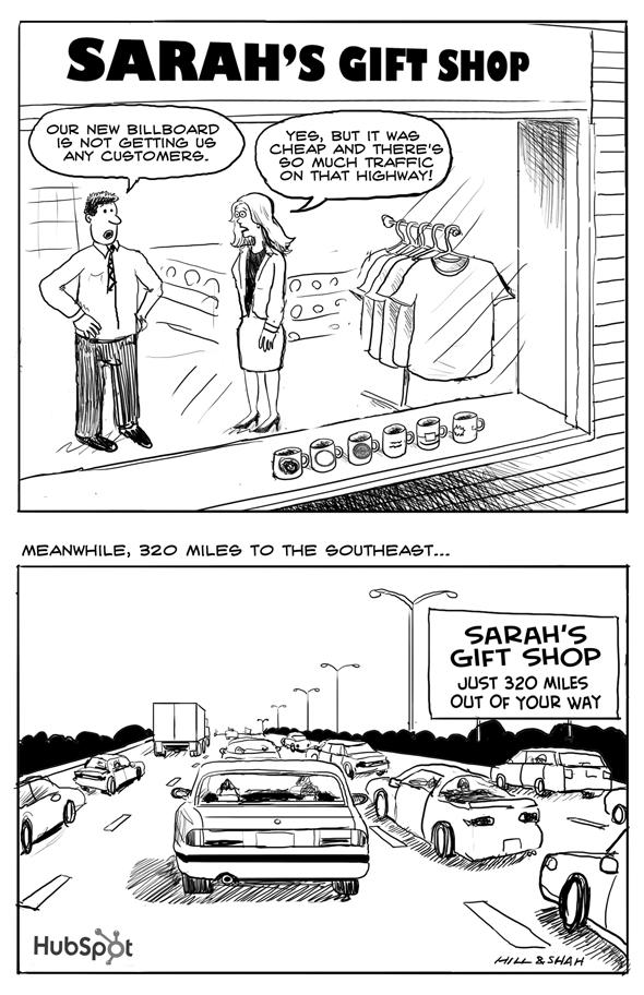 HubSpot billboard cartoon
