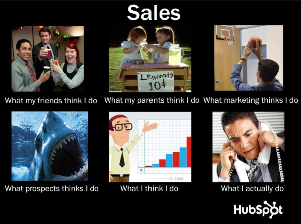 What People Think I Do meme with captions for salespeople
