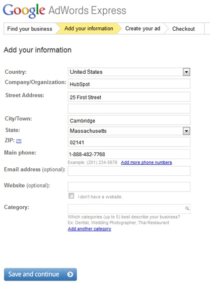 Google Adwords Express Step 2