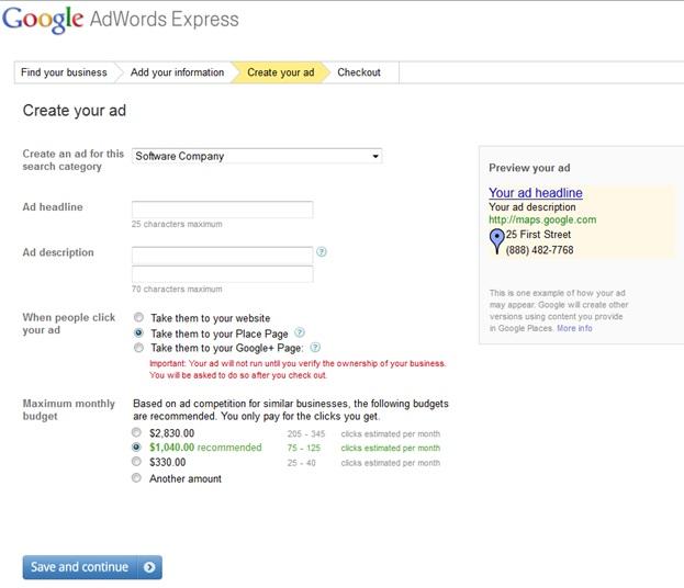 Google Adwords Express Step 3