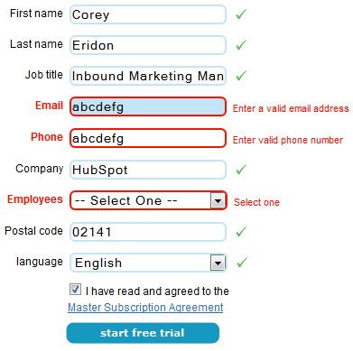incorrect form fields