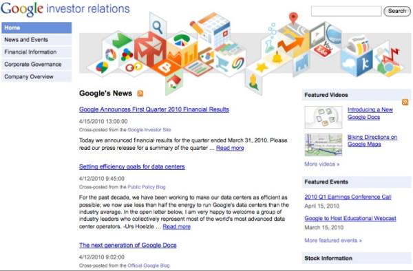 Google investor relations