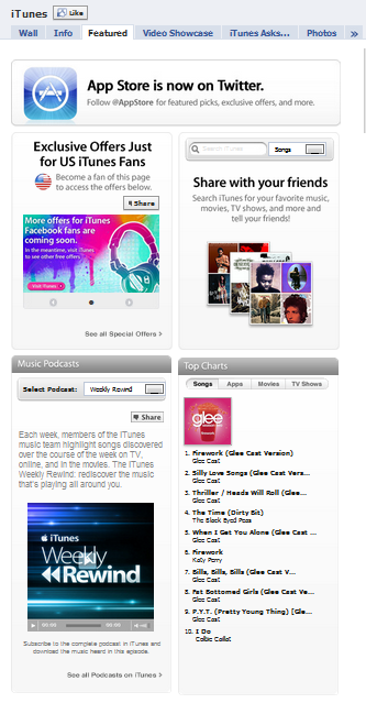 iTunes Facebook Fan Page